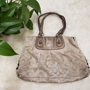 Coach carry all pewter cream initial tote bag
